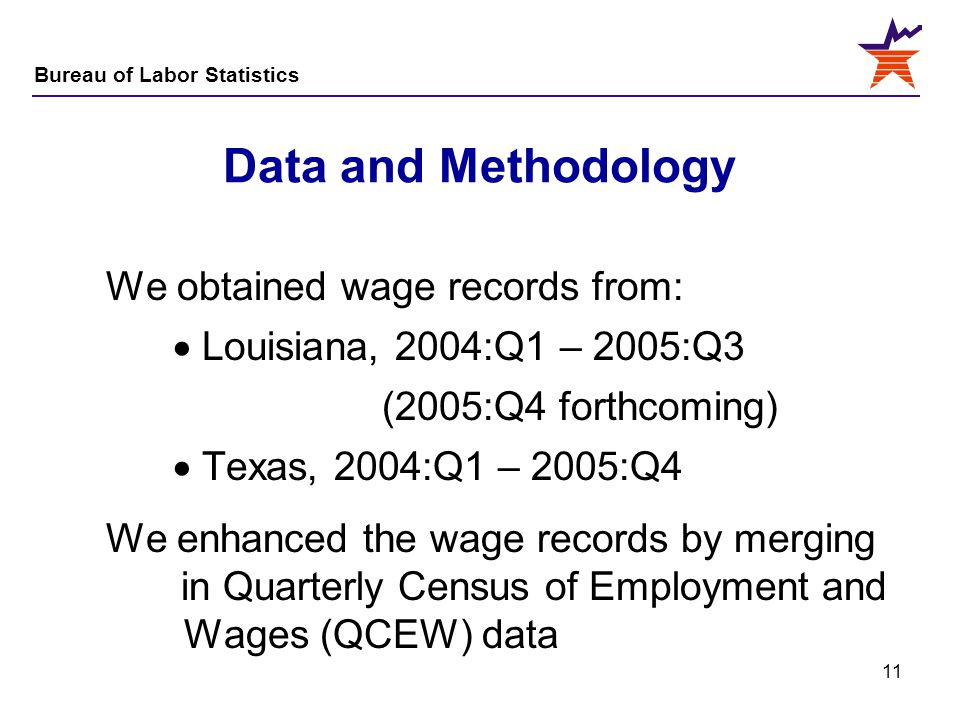 Bureau of Labor Statistics 11 Data and Methodology We obtained wage records from:  Louisiana, 2004:Q1 – 2005:Q3 (2005:Q4 forthcoming)  Texas, 2004:Q