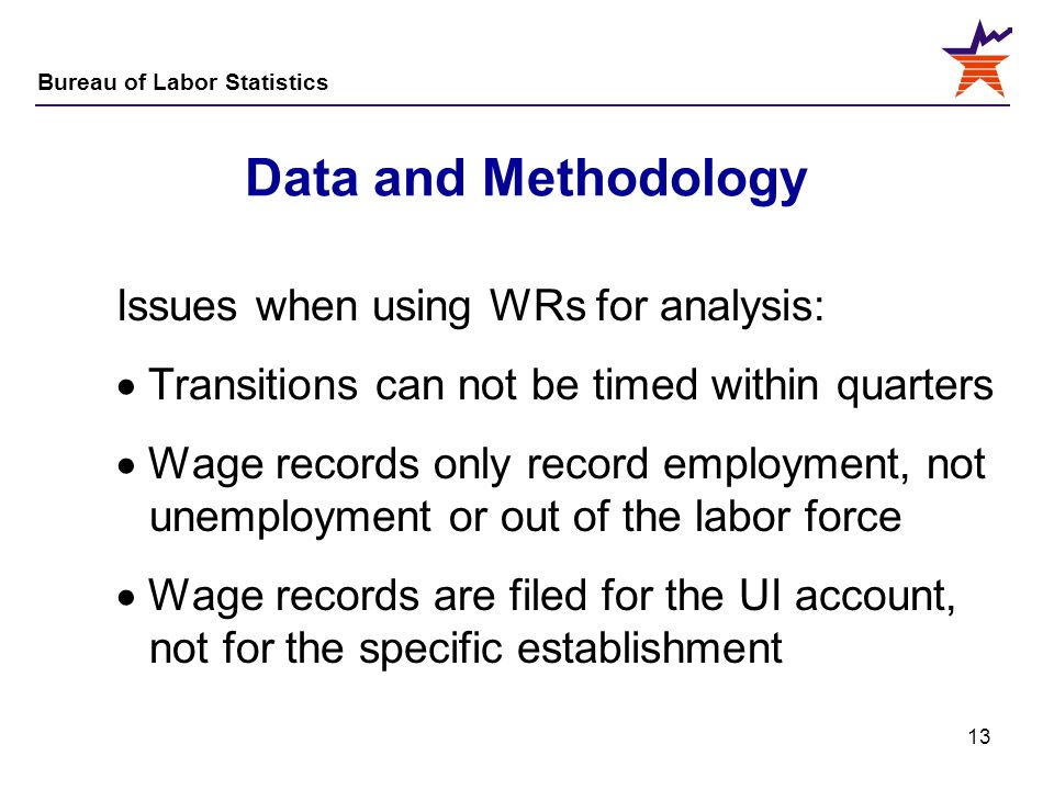 Bureau of Labor Statistics 13 Data and Methodology Issues when using WRs for analysis:  Transitions can not be timed within quarters  Wage records o