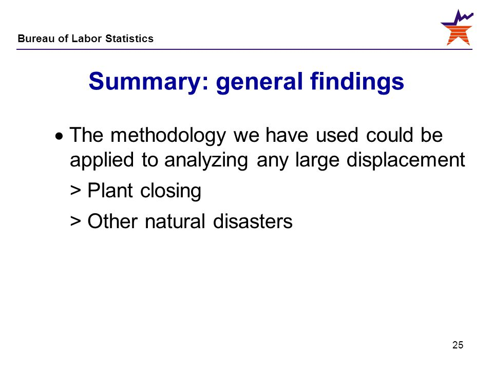 Bureau of Labor Statistics 25 Summary: general findings  The methodology we have used could be applied to analyzing any large displacement > Plant cl
