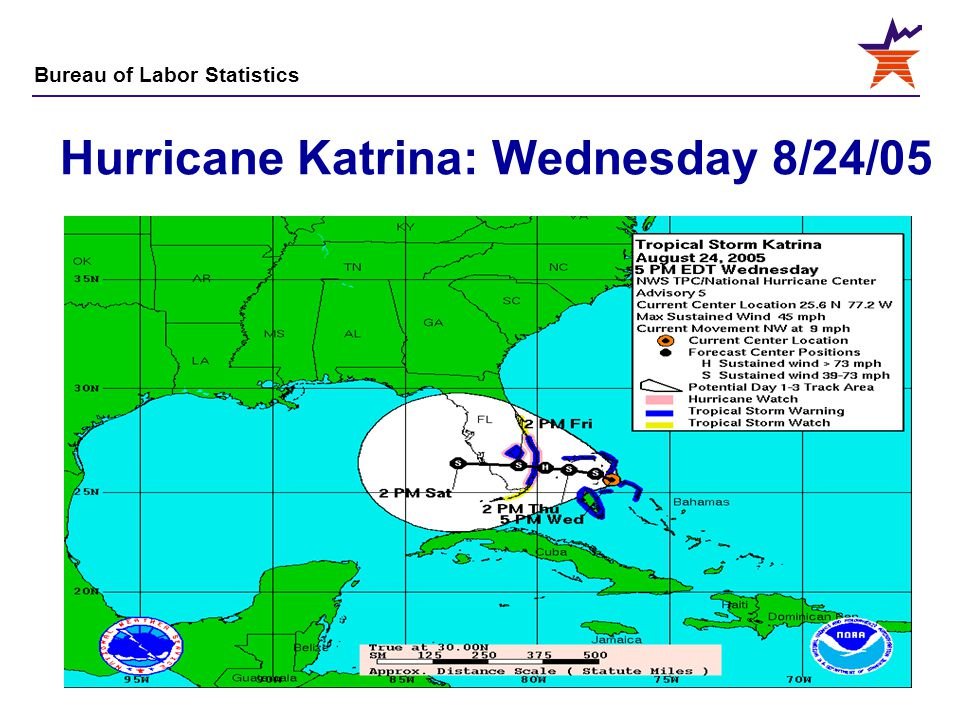 Bureau of Labor Statistics 4 Hurricane Katrina: Wednesday 8/24/05