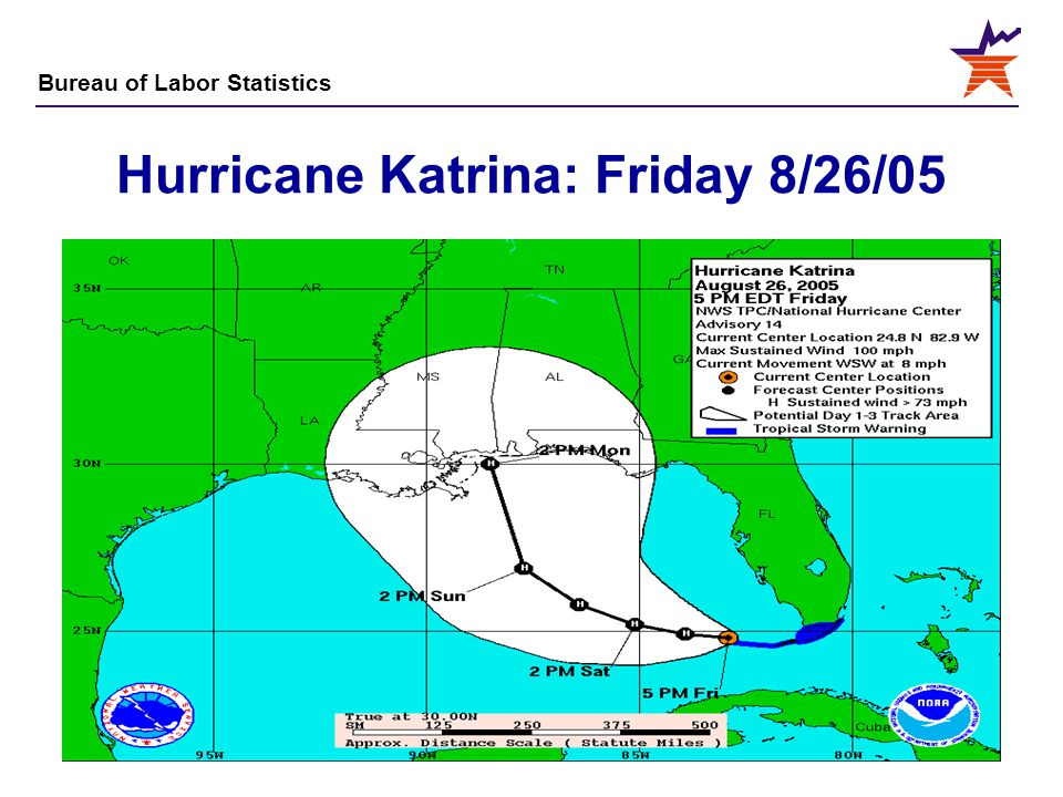 Bureau of Labor Statistics 6 Hurricane Katrina: Friday 8/26/05