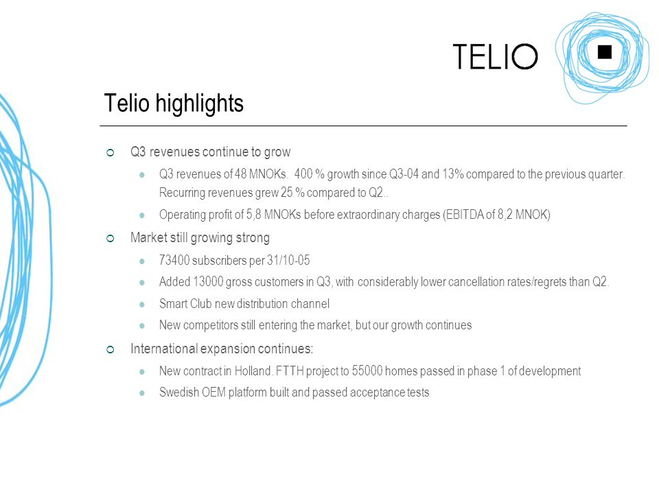 Telio highlights  Q3 revenues continue to grow Q3 revenues of 48 MNOKs.