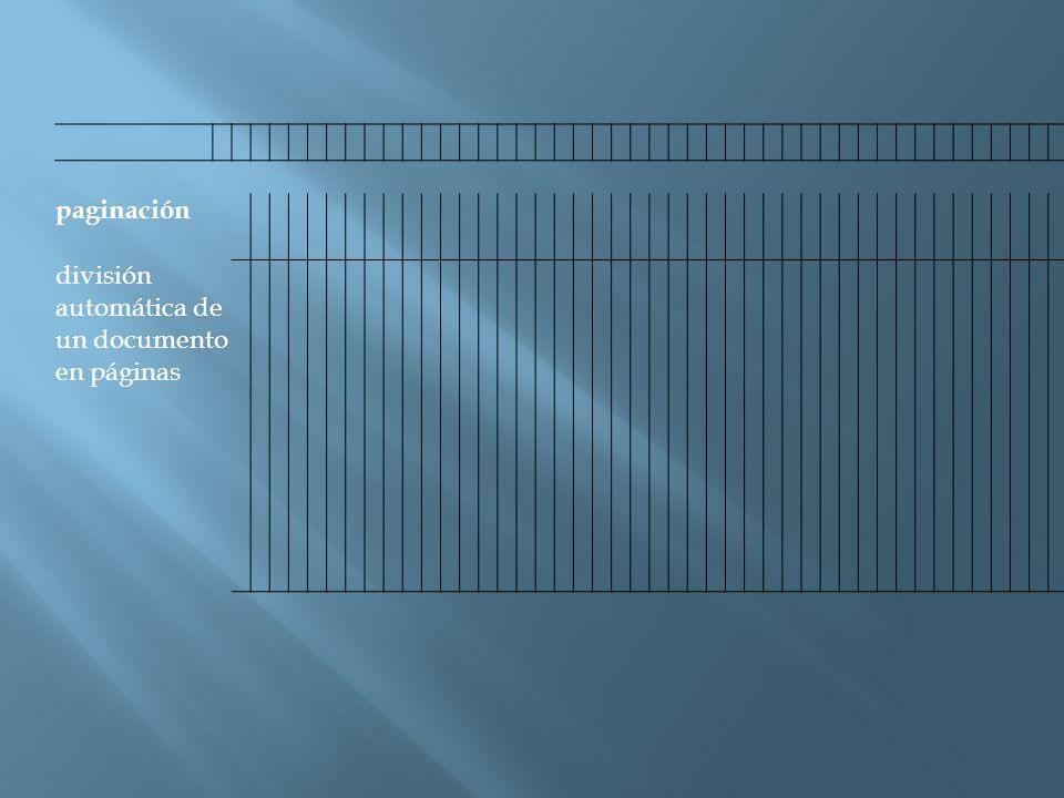 paginación división automática de un documento en páginas