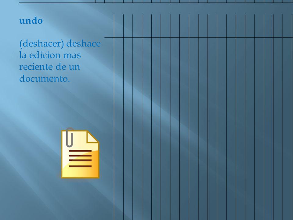 undo (deshacer) deshace la edicion mas reciente de un documento.