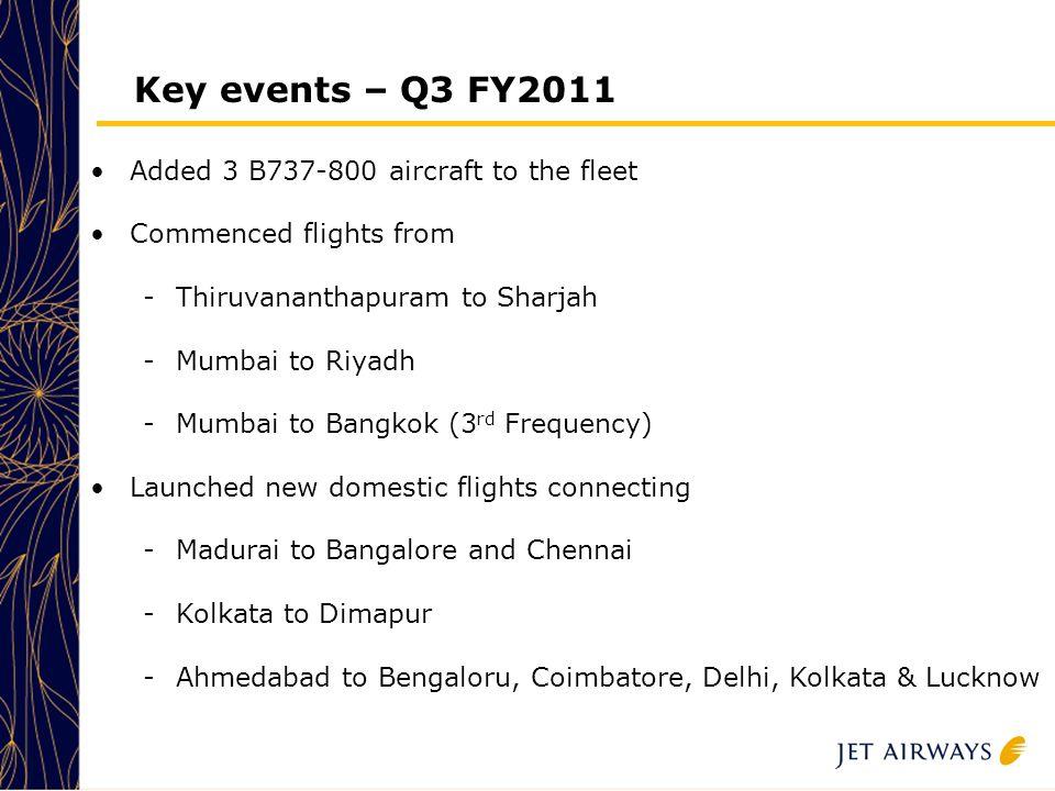 5 5 5 5 5 Key events – Q3 FY2011 Added 3 B737-800 aircraft to the fleet Commenced flights from -Thiruvananthapuram to Sharjah -Mumbai to Riyadh -Mumbai to Bangkok (3 rd Frequency) Launched new domestic flights connecting -Madurai to Bangalore and Chennai -Kolkata to Dimapur -Ahmedabad to Bengaloru, Coimbatore, Delhi, Kolkata & Lucknow