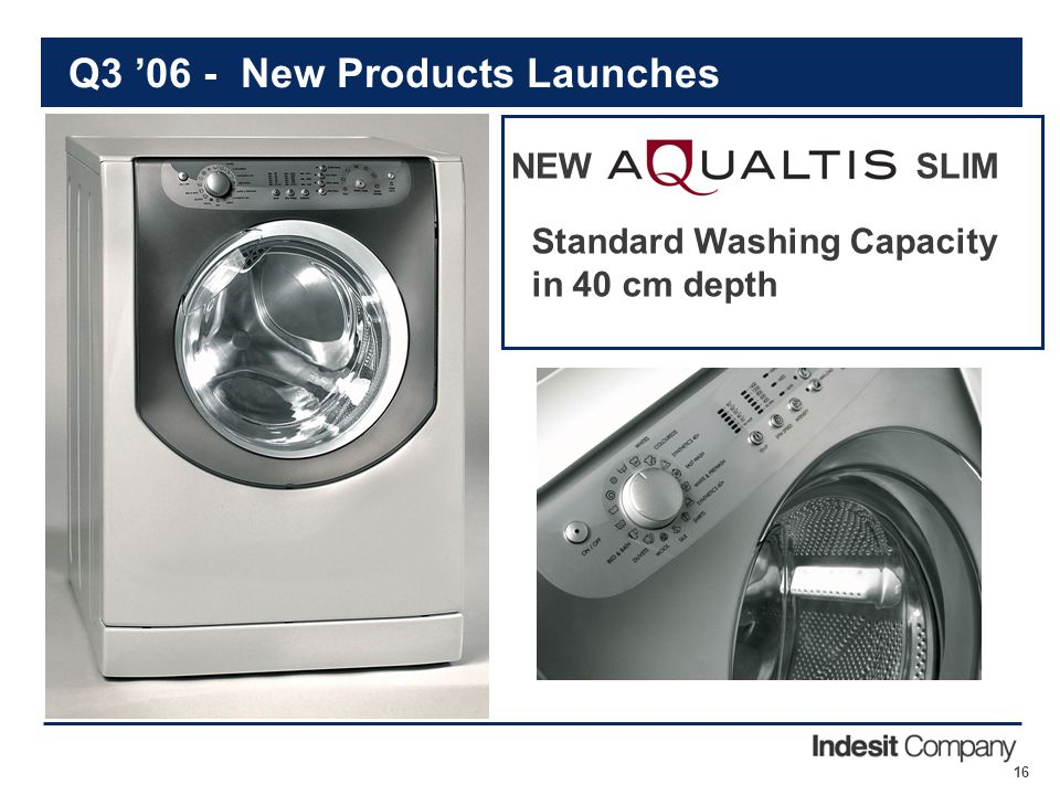 16 Q3 '06 - New Products Launches NEW Standard Washing Capacity in 40 cm depth SLIM