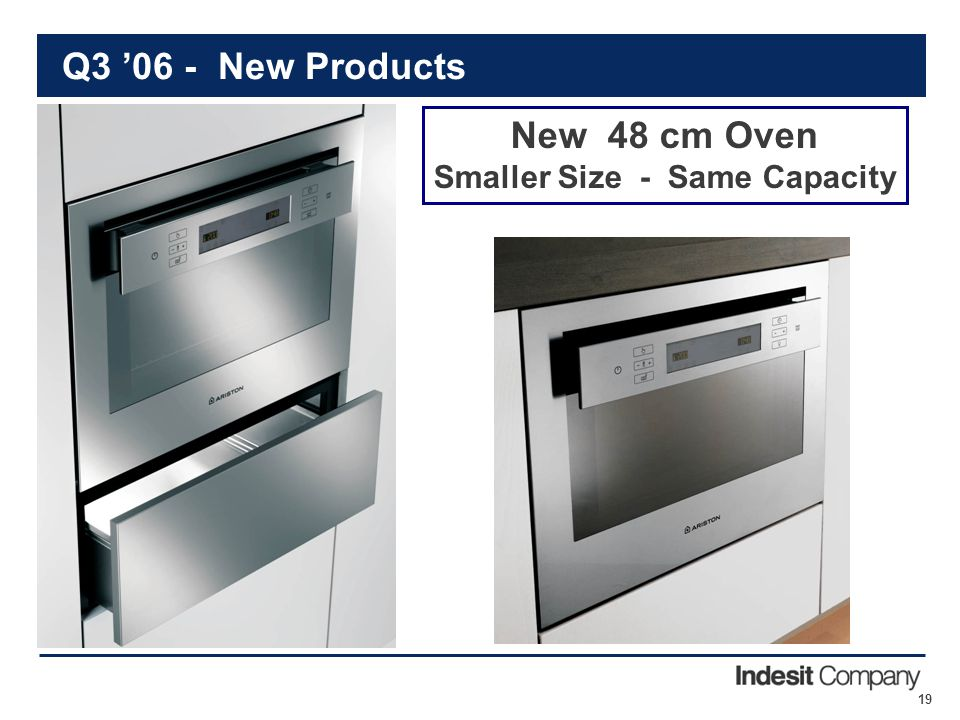 19 Q3 '06 - New Products New 48 cm Oven Smaller Size - Same Capacity