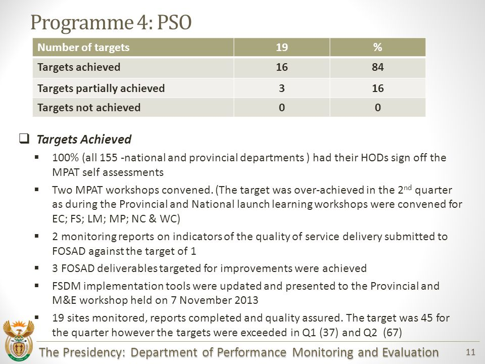 The Presidency: Department of Performance Monitoring and Evaluation 11 Programme 4: PSO  Targets Achieved  100% (all 155 -national and provincial departments ) had their HODs sign off the MPAT self assessments  Two MPAT workshops convened.