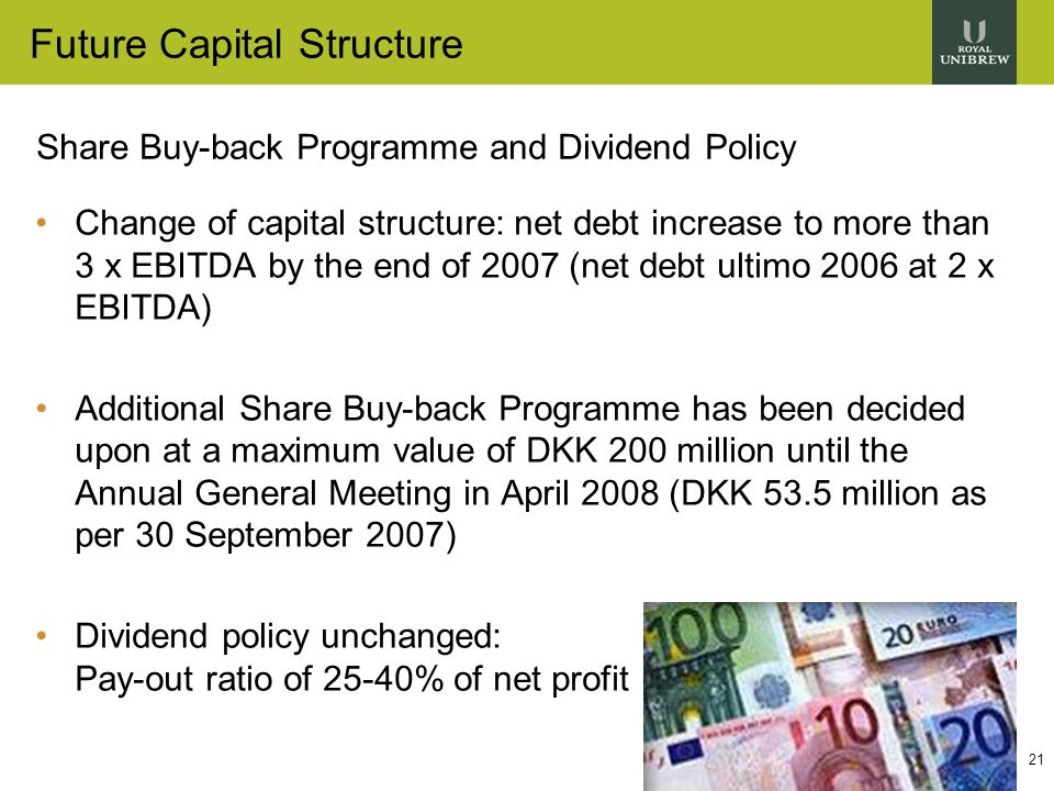 21 Future Capital Structure Share Buy-back Programme and Dividend Policy Change of capital structure: net debt increase to more than 3 x EBITDA by the end of 2007 (net debt ultimo 2006 at 2 x EBITDA) Additional Share Buy-back Programme has been decided upon at a maximum value of DKK 200 million until the Annual General Meeting in April 2008 (DKK 53.5 million as per 30 September 2007) Dividend policy unchanged: Pay-out ratio of 25-40% of net profit