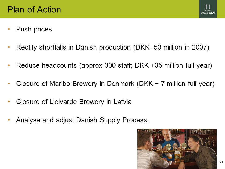 23 Plan of Action Push prices Rectify shortfalls in Danish production (DKK -50 million in 2007) Reduce headcounts (approx 300 staff; DKK +35 million full year) Closure of Maribo Brewery in Denmark (DKK + 7 million full year) Closure of Lielvarde Brewery in Latvia Analyse and adjust Danish Supply Process.