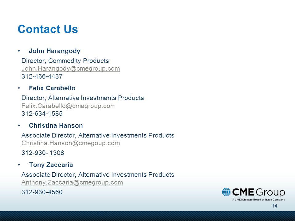 14 Contact Us John Harangody Director, Commodity Products John.Harangody@cmegroup.com 312-466-4437 John.Harangody@cmegroup.com Felix Carabello Directo