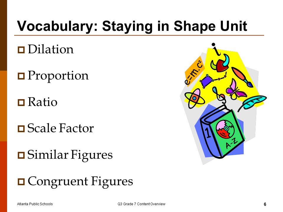 Atlanta Public SchoolsQ3 Grade 7 Content Overview 6 Vocabulary: Staying in Shape Unit  Dilation  Proportion  Ratio  Scale Factor  Similar Figures  Congruent Figures