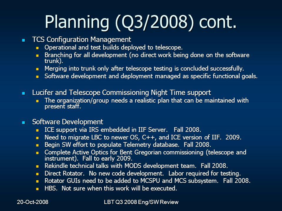 Planning (Q3/2008) cont.