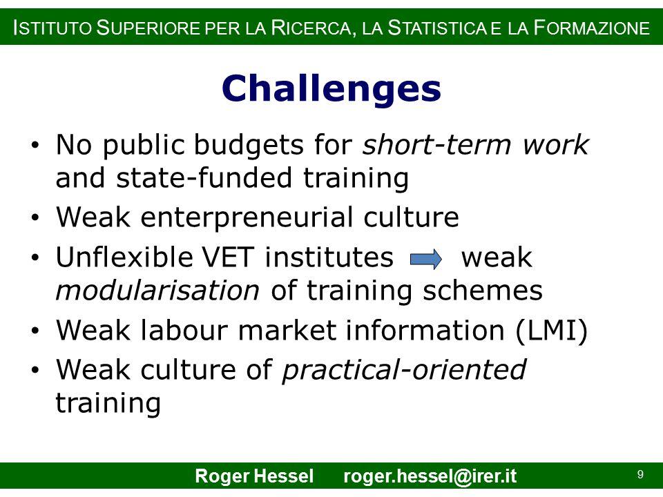 I STITUTO S UPERIORE PER LA R ICERCA, LA S TATISTICA E LA F ORMAZIONE Challenges No public budgets for short-term work and state-funded training Weak