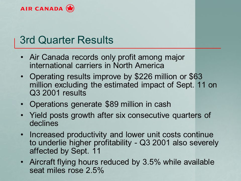 3rd Quarter Results Air Canada records only profit among major international carriers in North America Operating results improve by $226 million or $6
