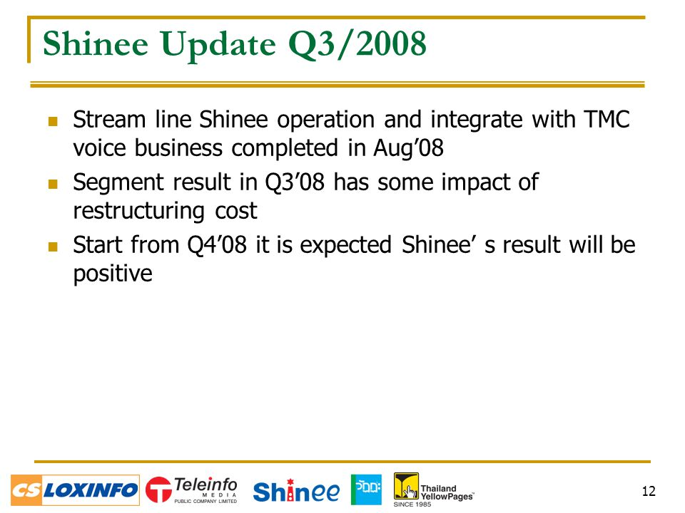 12 Shinee Update Q3/2008 Stream line Shinee operation and integrate with TMC voice business completed in Aug'08 Segment result in Q3'08 has some impact of restructuring cost Start from Q4'08 it is expected Shinee' s result will be positive