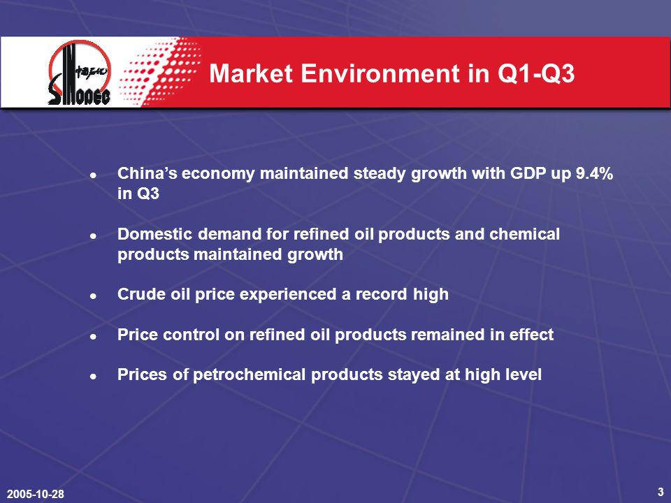 Market Environment in Q1-Q3 China's economy maintained steady growth with GDP up 9.4% in Q3 Domestic demand for refined oil products and chemical products maintained growth Crude oil price experienced a record high Price control on refined oil products remained in effect Prices of petrochemical products stayed at high level