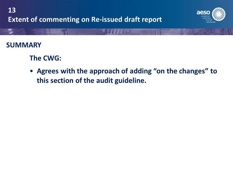 13 Extent of commenting on Re-issued draft report SUMMARY The CWG: Agrees with the approach of adding on the changes to this section of the audit guideline.