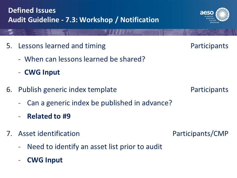 Defined Issues Audit Guideline - 7.3: Workshop / Notification 5.Lessons learned and timing Participants -When can lessons learned be shared.