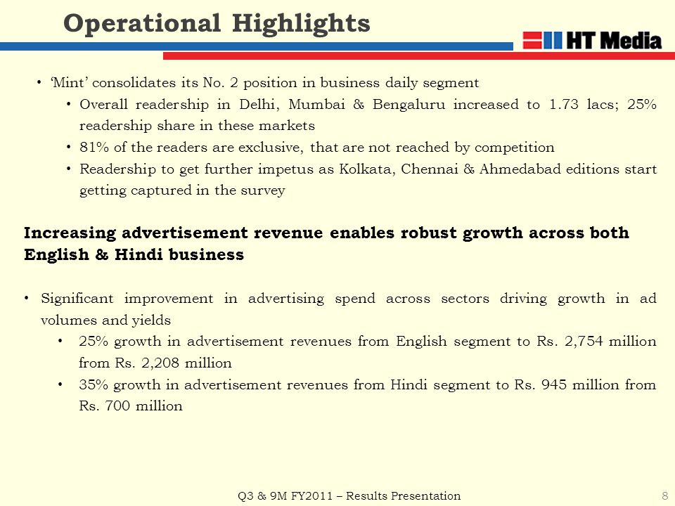 Q3 & 9M FY2011 – Results Presentation 8 Operational Highlights 'Mint' consolidates its No. 2 position in business daily segment Overall readership in