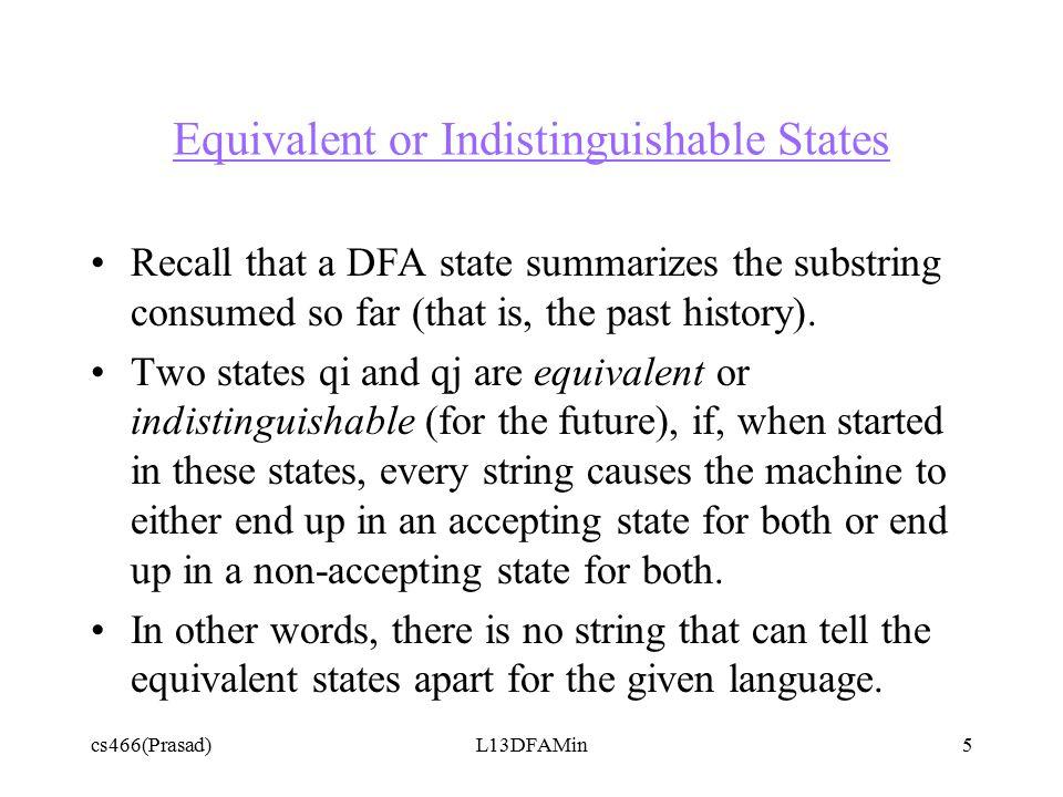cs466(Prasad)L13DFAMin6 Main Idea qi qnqj qm If qm and qn are distinguishable, then so are qi and qj a a