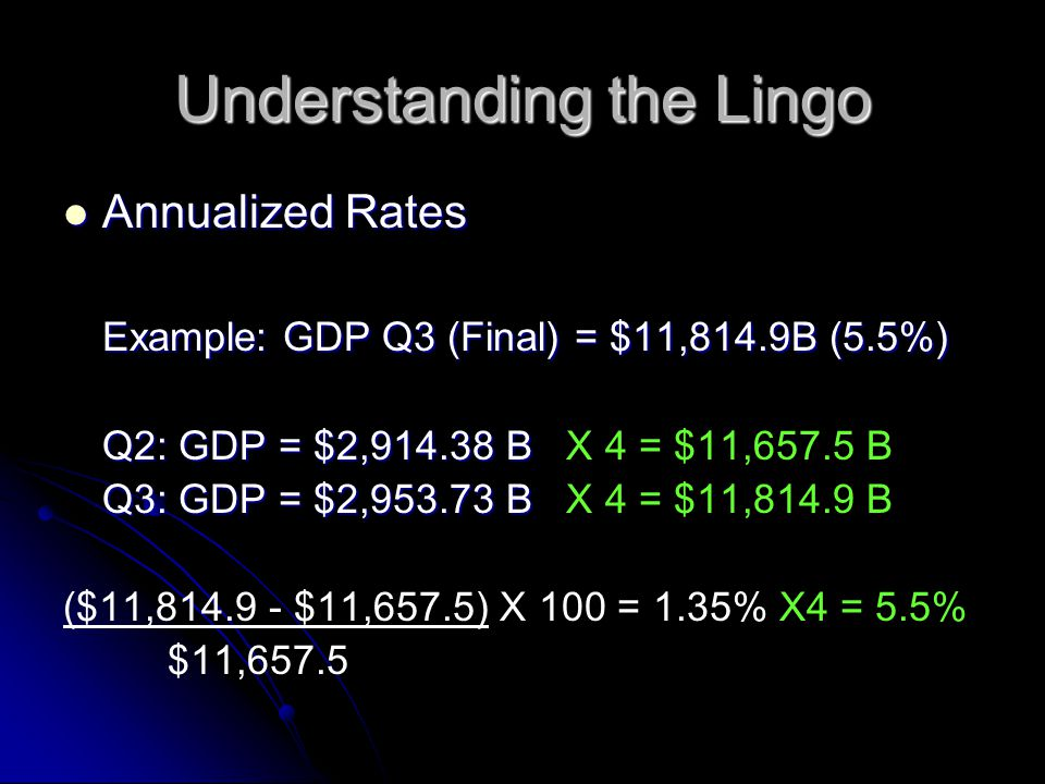Understanding the Lingo Annualized Rates Example: GDP Q3 (Final) = $11,814.9B (5.5%) Q2: GDP = $2, B X 4 = $11,657.5 B Q3: GDP = $2, B X 4 = $11,814.9 B ($11, $11,657.5) X 100 = 1.35% X4 = 5.5% $11,657.5
