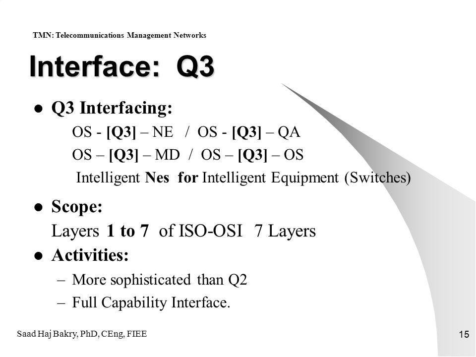 Saad Haj Bakry, PhD, CEng, FIEE 15 Interface: Q3 Q3 Interfacing: OS - [Q3] – NE / OS - [Q3] – QA OS – [Q3] – MD / OS – [Q3] – OS Intelligent Nes for Intelligent Equipment (Switches) Scope: Layers 1 to 7 of ISO-OSI 7 Layers Activities: –More sophisticated than Q2 –Full Capability Interface.