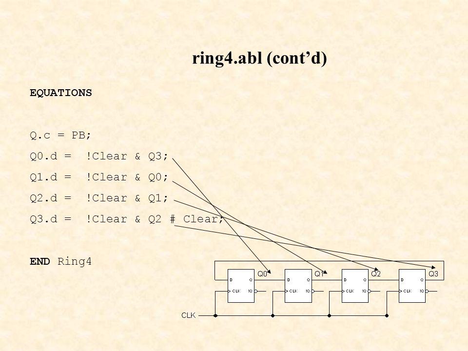 ring4.abl (cont'd) EQUATIONS Q.c = PB; Q0.d = !Clear & Q3; Q1.d = !Clear & Q0; Q2.d = !Clear & Q1; Q3.d = !Clear & Q2 # Clear; END Ring4