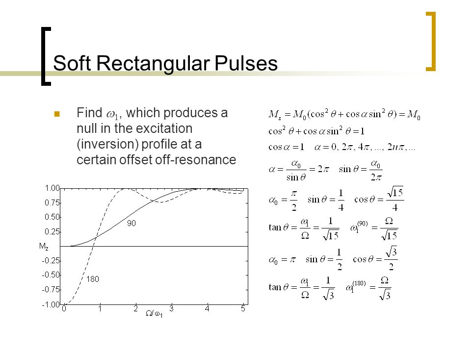 Soft Rectangular Pulses Find  1, which produces a null in the excitation (inversion) profile at a certain offset off-resonance