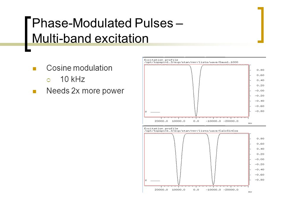 Phase-Modulated Pulses – Multi-band excitation Cosine modulation  10 kHz Needs 2x more power