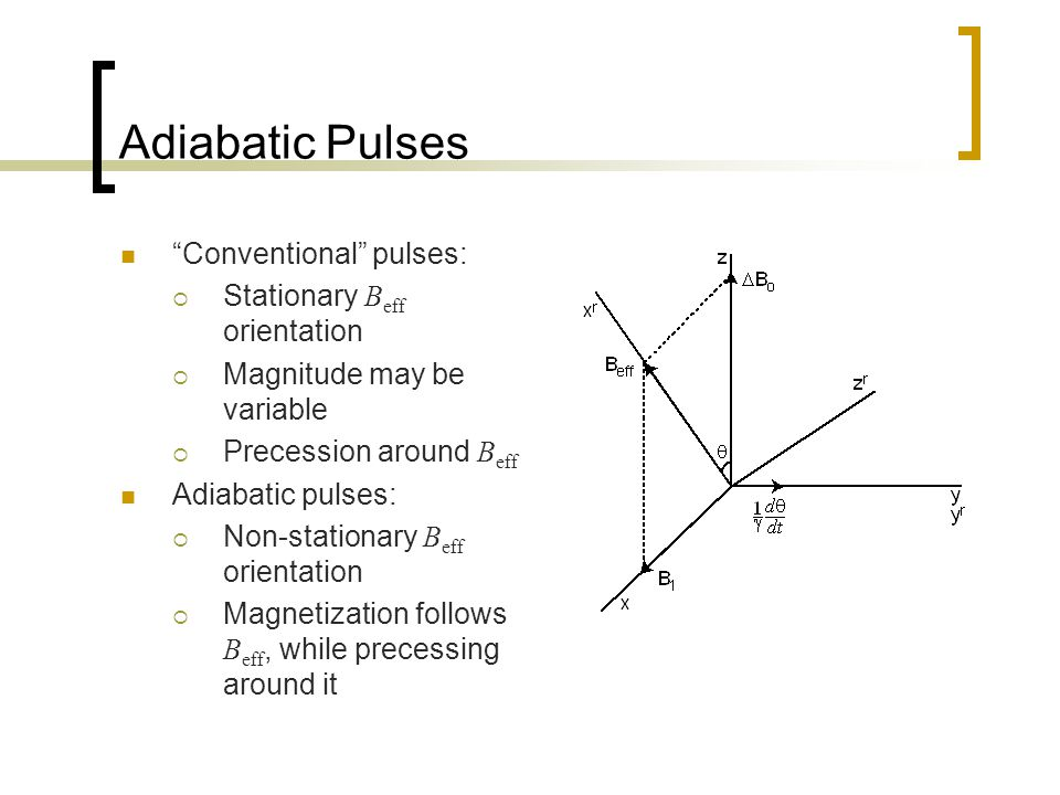 Adiabatic Pulses Conventional pulses:  Stationary B eff orientation  Magnitude may be variable  Precession around B eff Adiabatic pulses:  Non-stationary B eff orientation  Magnetization follows B eff, while precessing around it