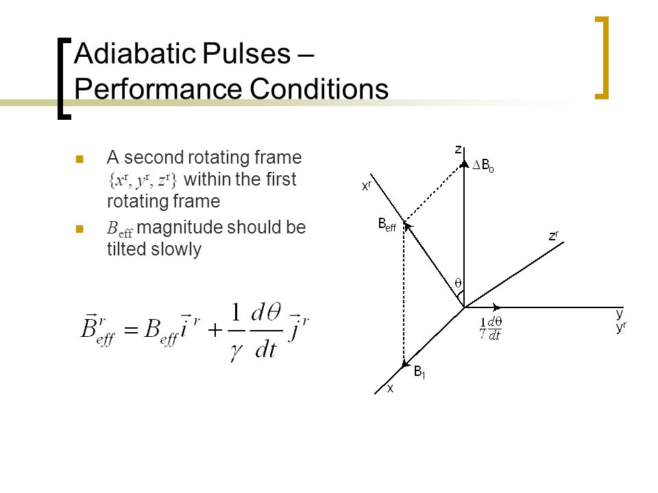 Adiabatic Pulses – Performance Conditions A second rotating frame {x r, y r, z r } within the first rotating frame B eff magnitude should be tilted slowly