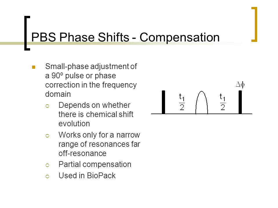 PBS Phase Shifts - Compensation Small-phase adjustment of a 90º pulse or phase correction in the frequency domain  Depends on whether there is chemical shift evolution  Works only for a narrow range of resonances far off-resonance  Partial compensation  Used in BioPack