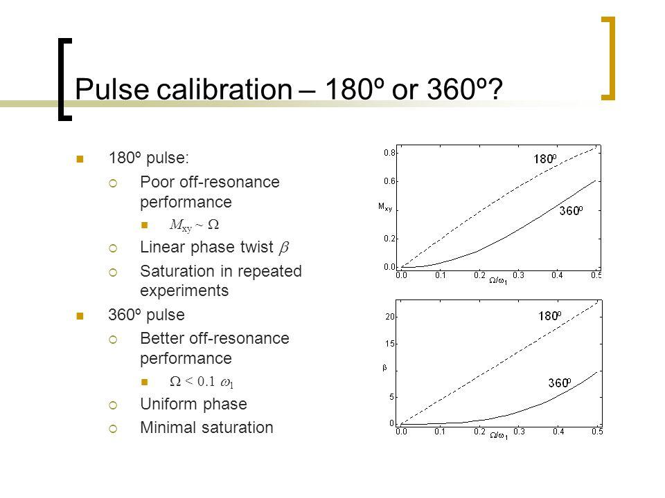 Pulse calibration – 180º or 360º.