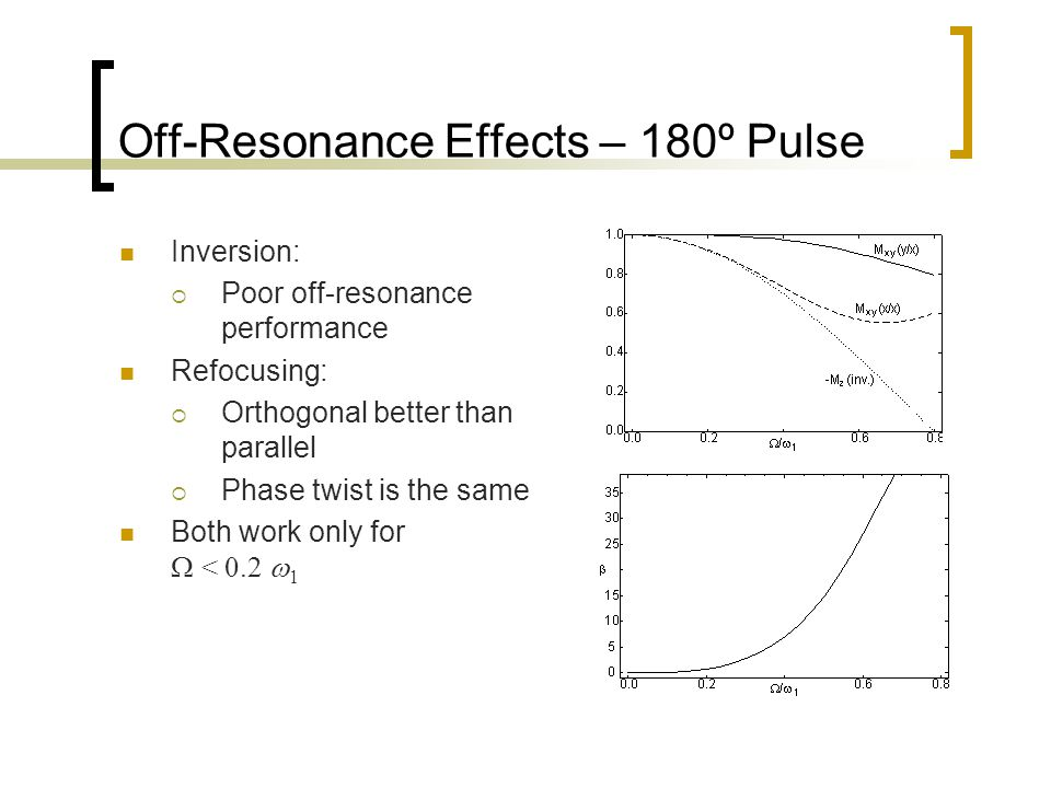 Off-Resonance Effects – 180º Pulse Inversion:  Poor off-resonance performance Refocusing:  Orthogonal better than parallel  Phase twist is the same Both work only for  < 0.2  1
