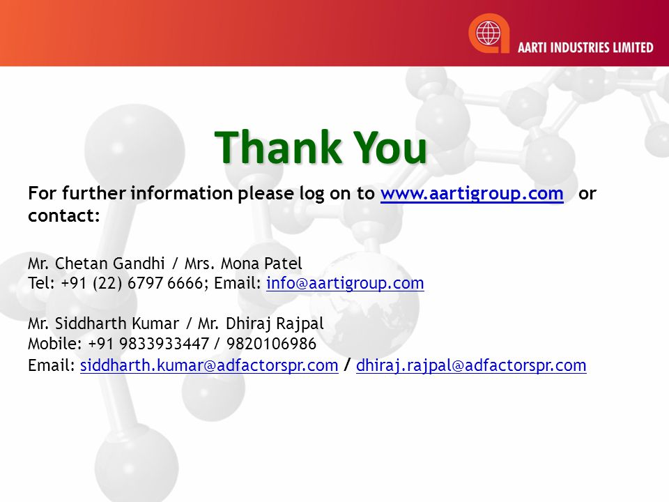 Thank You For further information please log on to www.aartigroup.com or contact: Mr.