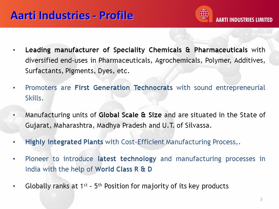 Leading manufacturer of Speciality Chemicals & Pharmaceuticals with diversified end-uses in Pharmaceuticals, Agrochemicals, Polymer, Additives, Surfactants, Pigments, Dyes, etc.