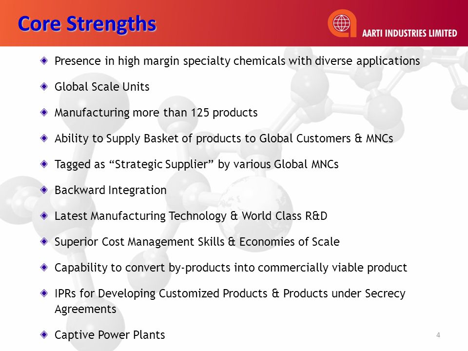 Presence in high margin specialty chemicals with diverse applications Global Scale Units Manufacturing more than 125 products Ability to Supply Basket of products to Global Customers & MNCs Tagged as Strategic Supplier by various Global MNCs Backward Integration Latest Manufacturing Technology & World Class R&D Superior Cost Management Skills & Economies of Scale Capability to convert by-products into commercially viable product IPRs for Developing Customized Products & Products under Secrecy Agreements Captive Power Plants Core Strengths 4