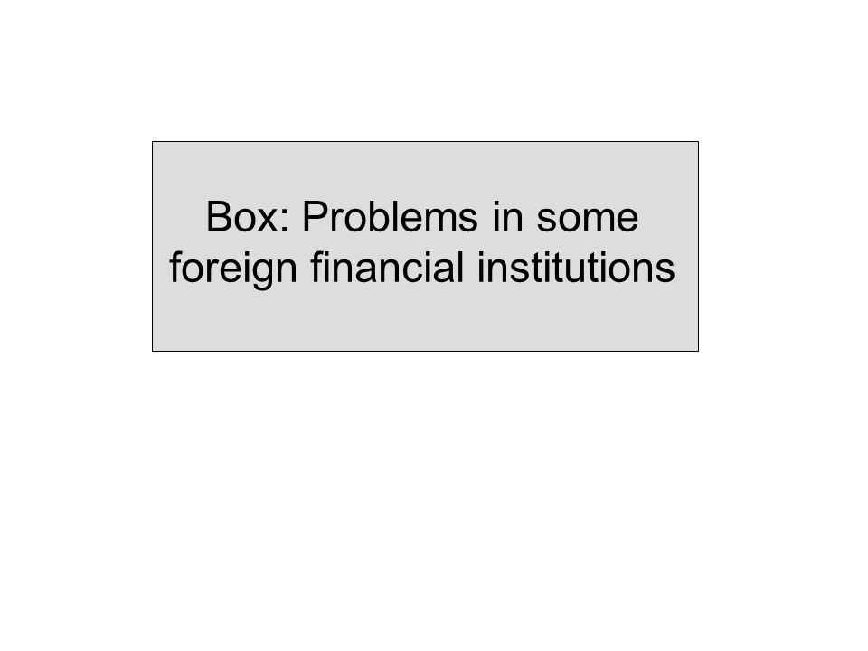 Box: Problems in some foreign financial institutions