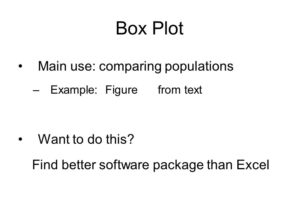 Main use: comparing populations –Example: Figure from text Want to do this.