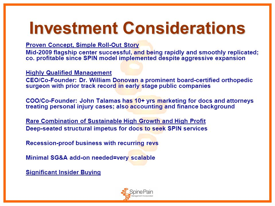 Investment Considerations Proven Concept, Simple Roll-Out Story Mid-2009 flagship center successful, and being rapidly and smoothly replicated; co. pr