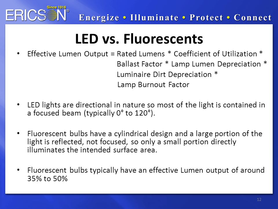 Effective Lumen Output = Rated Lumens * Coefficient of Utilization * Ballast Factor * Lamp Lumen Depreciation * Luminaire Dirt Depreciation * Lamp Burnout Factor LED lights are directional in nature so most of the light is contained in a focused beam (typically 0° to 120°).