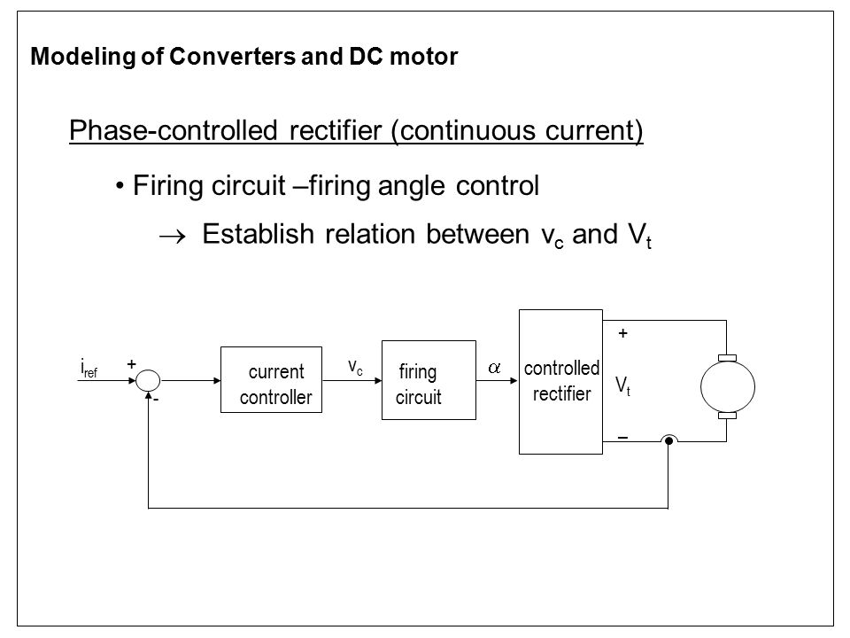 Phase-controlled rectifier (continuous current) Firing circuit –firing angle control  Establish relation between v c and V t firing circuit current c