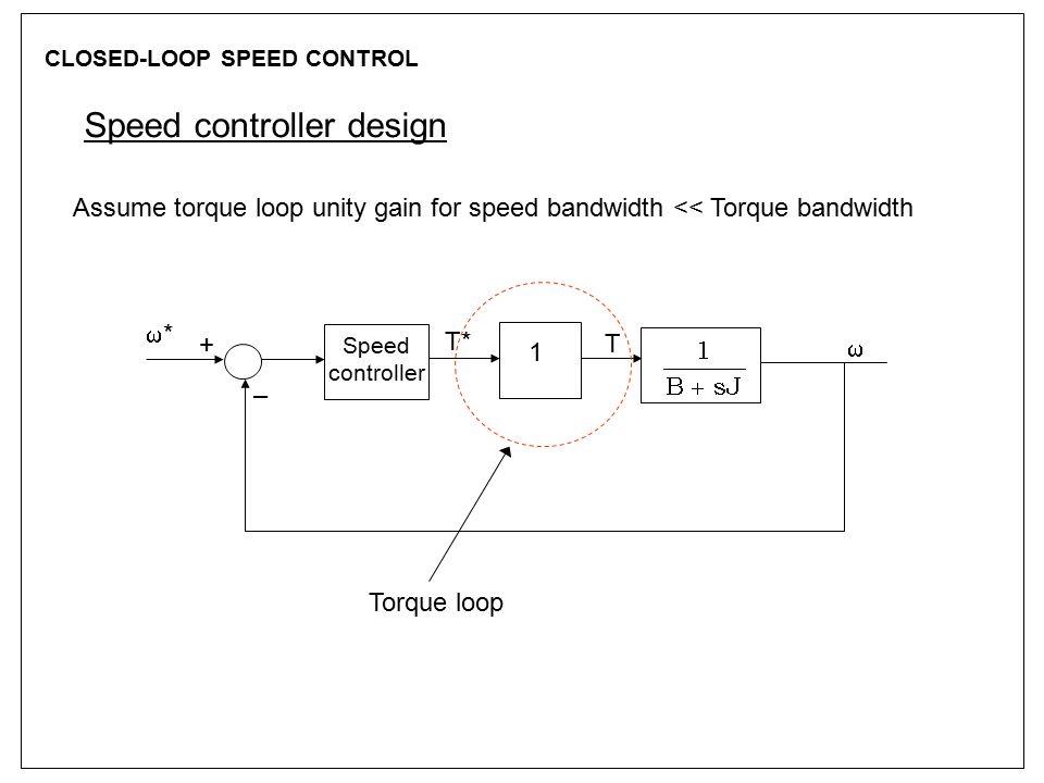 CLOSED-LOOP SPEED CONTROL Speed controller design Assume torque loop unity gain for speed bandwidth << Torque bandwidth 1 Speed controller ** T* T 