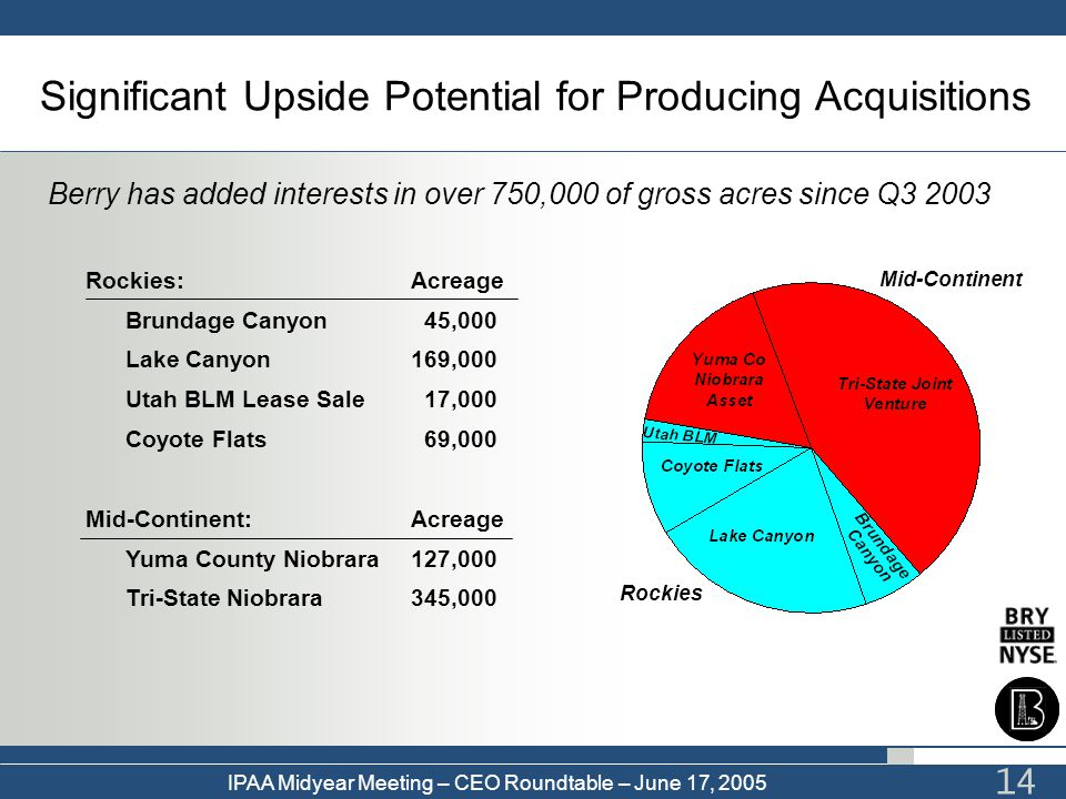 IPAA Midyear Meeting – CEO Roundtable – June 17, 2005 14 Significant Upside Potential for Producing Acquisitions Berry has added interests in over 750