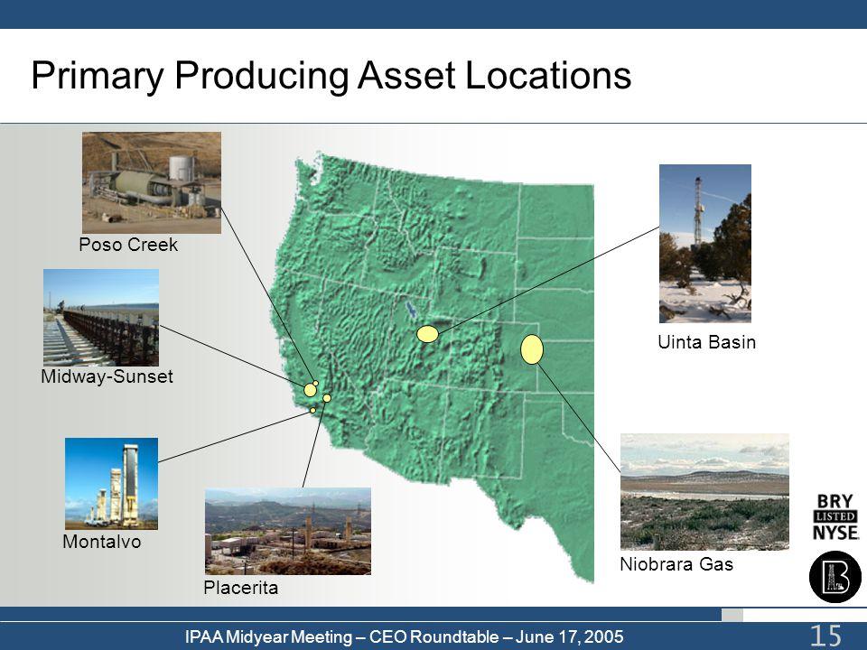 IPAA Midyear Meeting – CEO Roundtable – June 17, 2005 15 Primary Producing Asset Locations Uinta Basin Midway-Sunset Montalvo Placerita Poso Creek Nio