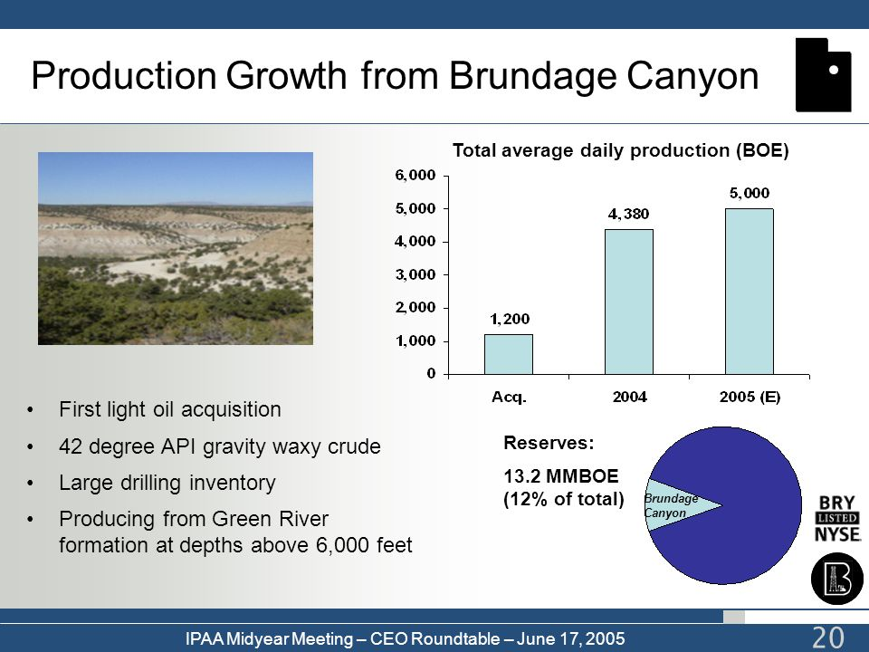 IPAA Midyear Meeting – CEO Roundtable – June 17, 2005 20 Production Growth from Brundage Canyon Reserves: 13.2 MMBOE (12% of total) Total average dail