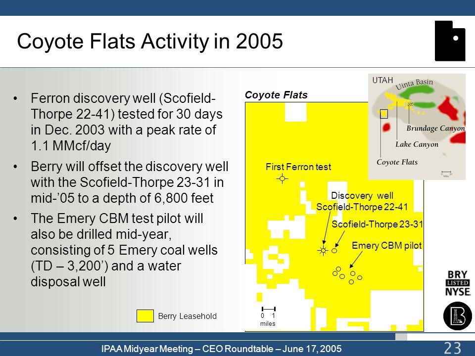 IPAA Midyear Meeting – CEO Roundtable – June 17, 2005 23 Scofield-Thorpe 23-31 Discovery well Scofield-Thorpe 22-41 First Ferron test Emery CBM pilot