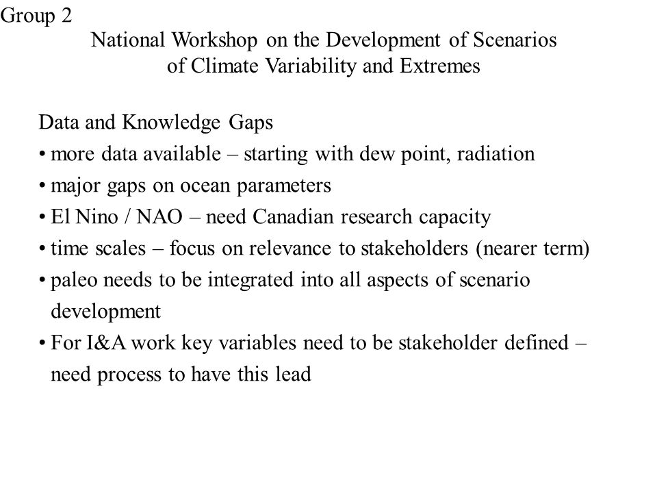 National Workshop on the Development of Scenarios of Climate Variability and Extremes Data and Knowledge Gaps more data available – starting with dew