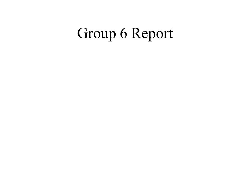 Group 6 Report
